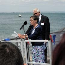 Joan Harvey handing RNLB Norman Harvey to the RNLI
