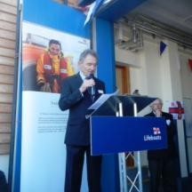 RNLI Chairman - Charles Hunter-Pease accepting the Boathouse from the Donors